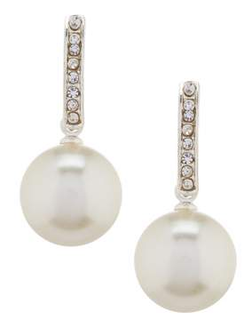 Cezanne Faux-Pearl Drop Rhinestone Half Hoop Earrings