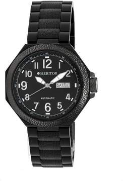 Heritor Spartacus Black Day/Date Dial Black IP Steel Case Automatic Men's Watch
