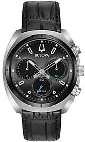 Bulova Men's CURV Chronograph Leather Strap Watch