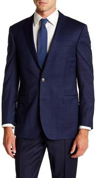 Brooks Brothers Notch Collar Windowpane Print Classic Fit Jacket