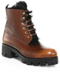 Prada Fur & Leather Lug Sole Booties