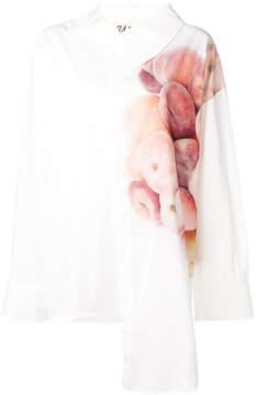 Awake peach print asymmetric shirt