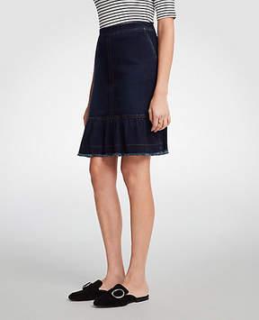 Ann Taylor Ruffle Denim Skirt
