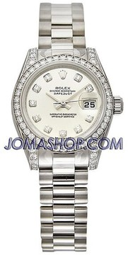 Rolex Lady-Datejust 26 White Dial 18K White Gold President Automatic Ladies Watch