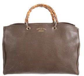 Gucci Large Bamboo Shopper Tote - GREY - STYLE