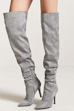 Forever 21 Glen Plaid Thigh High Boots