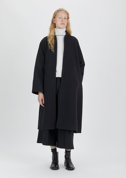 Dusan Dušan Felted Double Face Long Kimono Coat Black Size: Medium