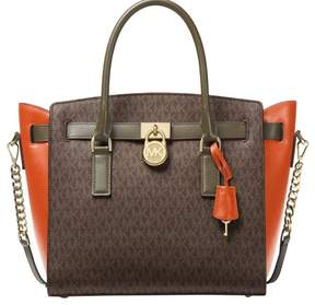 Michael Kors Hamilton Color-Block Logo and Leather Satchel - Brown/Orange/Olive - 30F7GHMS9V-285 - ONE COLOR - STYLE