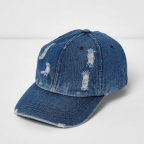 River Island Mens Blue distressed denim baseball cap