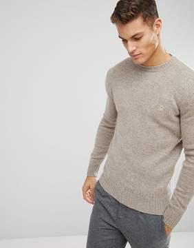 Benetton Sweater In Shetland Wool In Beige