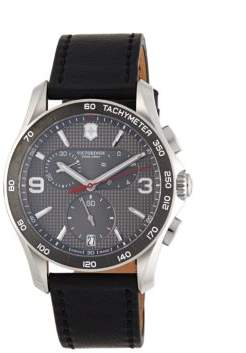 Victorinox Chronograph Stainless Steel & Leather Strap Watch