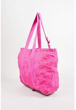 Nina Ricci Pre-owned Magenta Snakeskin Embossed Pouch Convertible Eyelet Tote Bag.
