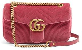 Gucci Gg Marmont Small Quilted Velvet Cross Body Bag - Womens - Pink