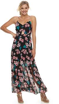 Candies Juniors' Candie's Floral Cutout Chiffon Maxi Dress