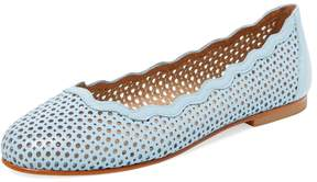 French Sole Women's Teacup Laser-Cut Leather Flat