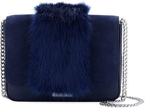 Loeffler Randall Suede Leather Crossbody Bag with Faux Fur Trim