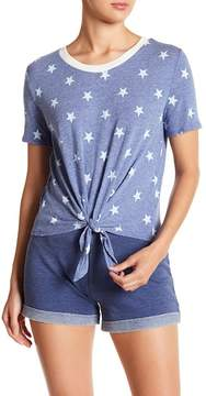 Alternative Star Patterned Tie Front Tee
