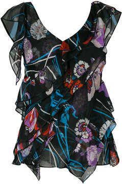 Emilio Pucci floral print ruffled blouse