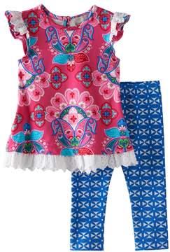 Rare Editions Baby Girl Paisley Eyelet Tunic & Kaleidoscope Leggings Set