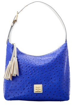 Dooney & Bourke Ostrich Paige Sac Shoulder Bag. - COBALT LIGHT GREY - STYLE
