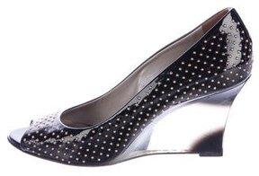 Versace Studded Peep-Toe Wedges