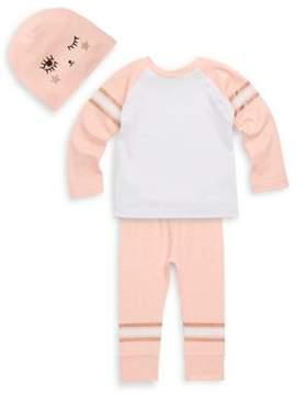 Petit Lem Baby's Three-Piece Raglan Top, Pants and Graphic Hat
