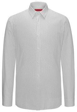 HUGO Boss Triangle-Print Cotton Sport Shirt, Extra Slim Fit Elisha XL Open White
