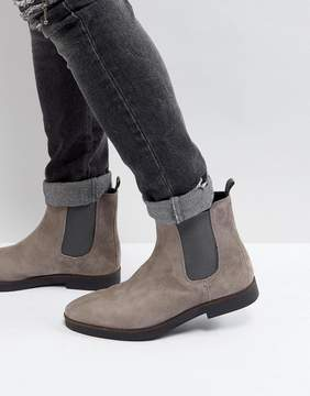 Zign Shoes Suede Chelsea Boots In Gray