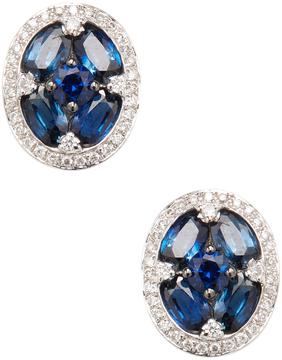 Amrapali Women's 18K White Gold, Blue Sapphire & 0.27 Total Ct. Diamond Stud Earrings