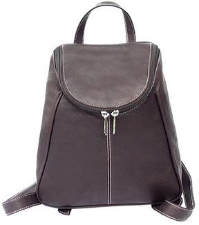 Women's Piel Leather UZip Flap Backpack 2466