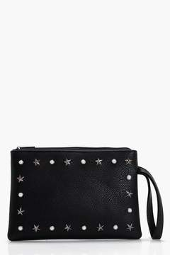 boohoo Pearl And Star Ziptop Clutch