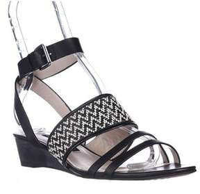 French Connection Wiley Ankle-strap Sandals, Black/black/white/black.