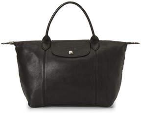 Longchamp Black Le Pliage Cuir Satchel - BLACK - STYLE