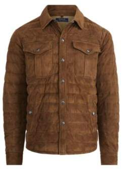 Ralph Lauren Suede Down Shirt Jacket Country Brown Xl