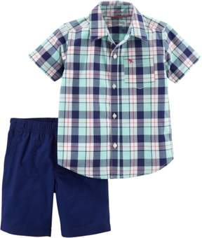 Carter's Baby Boys Plaid Print Pocket Shorts Set