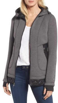GUESS Women's Mixed Media Hooded Jacket