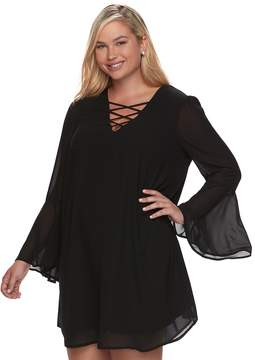 Speechless Juniors' Plus Size Strappy Bell Sleeve Dress