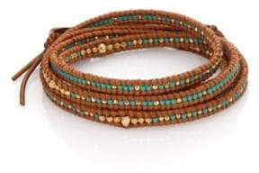 Chan Luu Beaded Leather Multi-Row Wrap Bracelet
