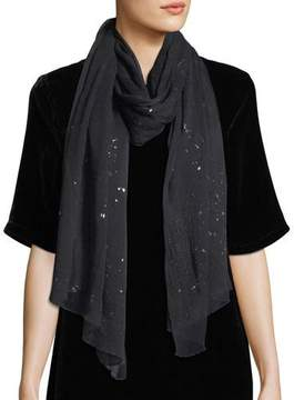 Eileen Fisher Foil-Sprinkled Crinkle-Silk Scarf