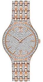 Bulova Women's Rosetone Crystal Watch with PaveDial