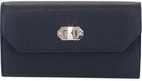 Alexander McQueen Leather Chain Turn-Lock Wallet, Blue