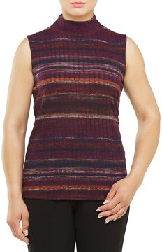 Allison Daley Mock Neck Sleeveless Stripe Knit Top