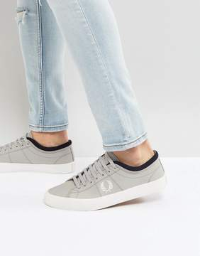 Fred Perry Kendrick Tipped Cuff Leather Sneakers in Gray