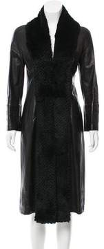 Gianni Versace Fur-Trimmed Leather Coat