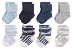 Hudson Baby Navy & Gray Stripe Chenille Eight-Pair Socks Set