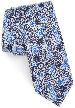 1901 Men's Grace Floral Print Cotton Skinny Tie