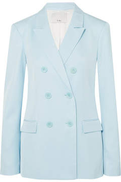 Tibi Double-breasted Satin-twill Blazer - Sky blue