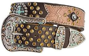 Ariat A1511802-XL 1.5 in. Womens Bedecked Crackle Leather Overlay Belt, Brown - Extra Large