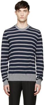 Dolce & Gabbana Navy and Grey Wool Sweater