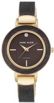 Anne Klein Goldtone Diamond-Accented Dark Brown Bezel Bracelet Watch